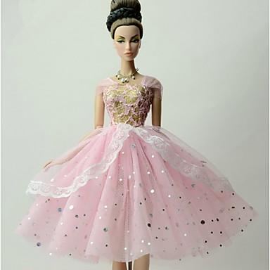 Princesa Vestidos Para Boneca Barbie Renda Organza Vestido Para Menina de Boneca de Brinquedo