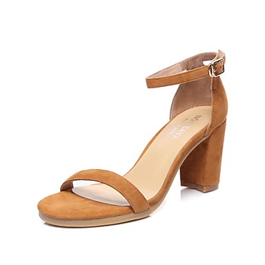 Women's Shoes PU Summer Slingback Sandals Chunky Heel Almond for Casual White Brown Almond Heel 69c614