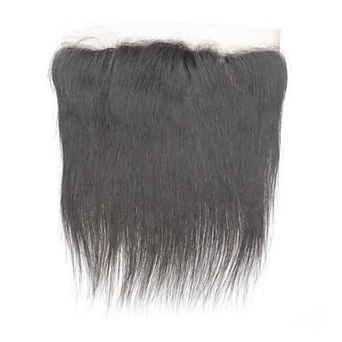 billige Parykker af ægte menneskerhår-Brasiliansk hår Blonde Front Lige Midterste del / 3 Del / Side Del Schweiziske blonder Remy Menneskehår