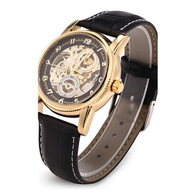 Bărbați Mecanism automat ceas mecanic / Ceas de Mână Japoneză Gravură scobită PU Bandă Lux Negru