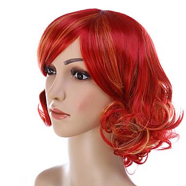 الاصطناعية الباروكات مجعد الشعر المقصوص على الجبهة شعر مستعار صناعي أحمر شعر مستعار للمرأة قصير دون غطاء