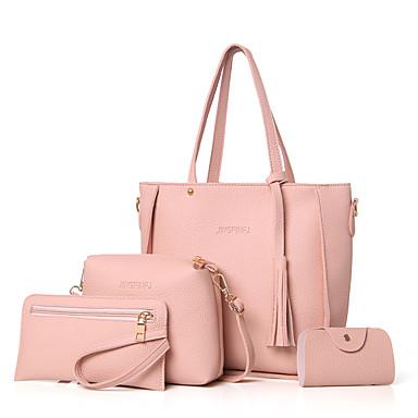 hesapli Çanta Setleri-Kadın's Çanta Setleri Çanta Setleri PU Solid 4 Adet Çanta Seti Doğal Pembe / Gri / Kahverengi