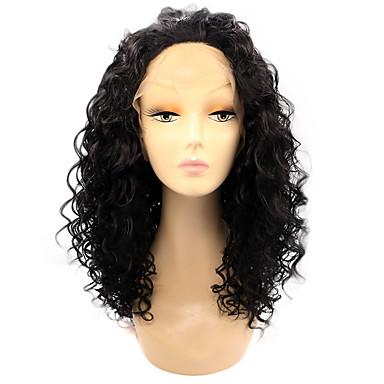 Perucas Lace Front Sintéticas Kinky Curly Cabelo Ombre Preta Mulheres Frente de Malha Peruca Natural Médio Cabelo Sintético