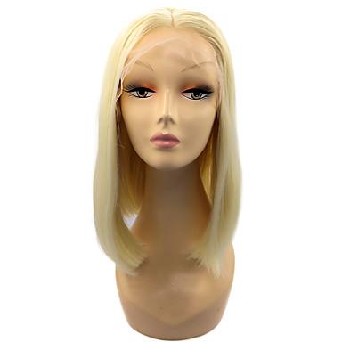 Χαμηλού Κόστους Συνθετικές περούκες με δαντέλα-Συνθετικές μπροστινές περούκες δαντέλας Ίσιο Στυλ Κούρεμα καρέ Δαντέλα Μπροστά Περούκα Ξανθό Blonde Συνθετικά μαλλιά Γυναικεία Μεσαίο καρέ Ξανθό Περούκα Κοντό Φυσική περούκα