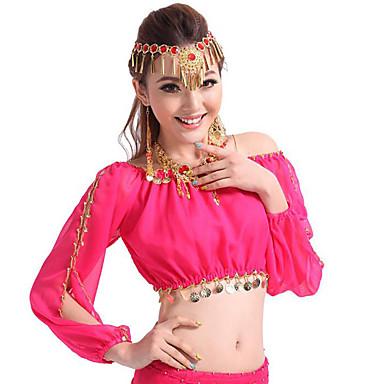 Dança do Ventre Blusas Mulheres Espetáculo Chiffon Lantejoulas Manga Longa Blusa