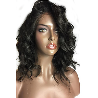 Human Hair Glueless Lace Front / Lace Front Wig Loose Wave Wig 150% Natural Hairline / African American Wig / 100% Hand Tied Women's Short / Medium Length Human Hair Lace Wig