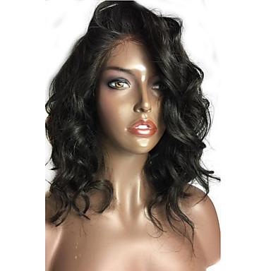 Ekte hår Blonde Forside Parykk Løse bølger 150% tetthet 100 % håndknyttet Afroamerikansk parykk Naturlig hårlinje Kort Medium Dame