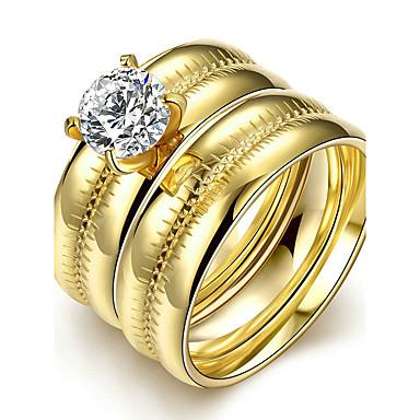 Mulheres Anel de noivado Anel Anel de banda Dourado Aço Titânio Redonda Casamento Fashion Estilo simples Presentes de Natal Casamento