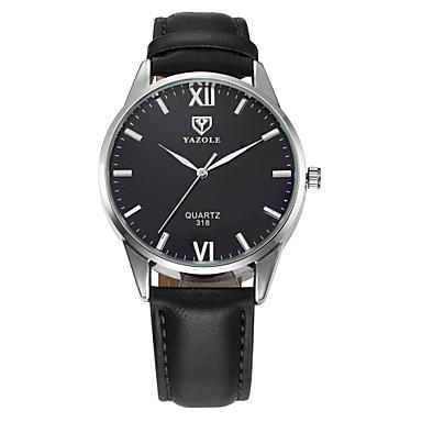 YAZOLE 남성용 드레스 시계 손목 시계 석영 / 가죽 밴드 캐쥬얼 블랙 브라운