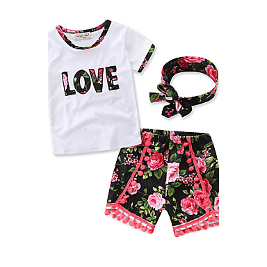 فتيات مجموعة ملابس ورد يوميا الرياضة رسمي قطن صيف كم قصير زهري شريطة أبيض