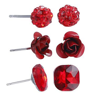 للمرأة مجموعة مجوهرات - وردة أسلوب بسيط, اسلوب لطيف, أفريقيا تتضمن أحمر من أجل الذكرى السنوية عيد ميلاد تدفئة المنزل / 6PCS / أقراط