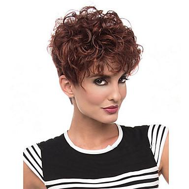 halpa Synteettiset peruukit ilmanmyssyä-Synteettiset peruukit Kihara Tyyli Suojuksettomat Peruukki Ruskea Beige Synteettiset hiukset Naisten Afro-amerikkalainen peruukki Ruskea Peruukki Lyhyt Luonnollinen peruukki