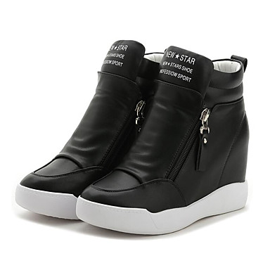 povoljno Ženske cipele-Žene Sneakers Wedge Heel Okrugli Toe Patent-zatvarač Mikrovlakana Tenisice platforme Hodanje Proljeće / Ljeto Obala / Crn / EU39
