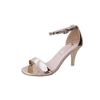 Mujer Zapatos PU Verano Tira en el Tobillo Sandalias Tacón Cuadrado Puntera abierta Dorado / Blanco / Plata / Fiesta y Noche g4nNAp
