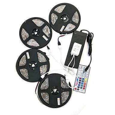 billige LED Strip Lamper-ZDM® 4x5M Lyssett 600 LED 5050 SMD 1 44Kjør fjernkontrollen / 1x 1 til 4 kabelkontakt / 1 vekselstrømkabel RGB Vanntett / Kuttbar / Fest 100-240 V 1set / IP65 / Selvklebende