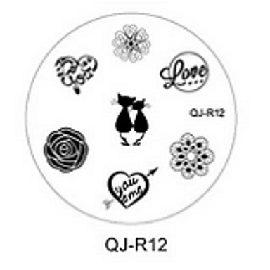 네일 도구 템플릿 인쇄 레이스 동물 꽃 사랑 패턴을 손톱 네일