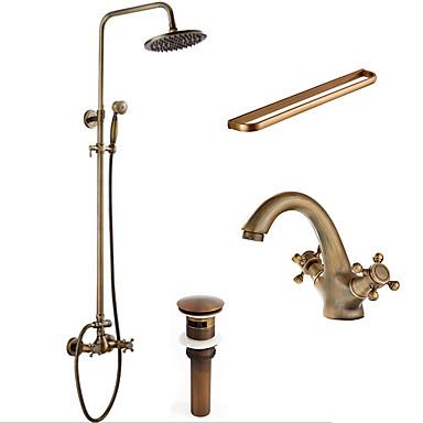 Faucet Set - Chuveiro Tipo Chuva Chuveiro de Mão Incluído Cobre Envelhecido Sistema do Chuveiro Duas Aberturas Três Handles dois furos