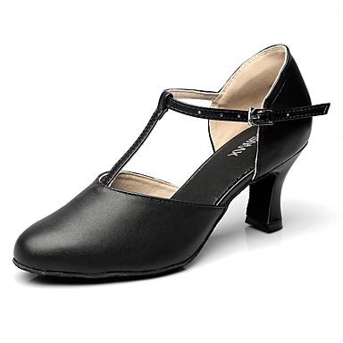 Mulheres Sapatos de Dança Latina Couro Salto Salto Robusto Não Personalizável Sapatos de Dança Preto / Espetáculo