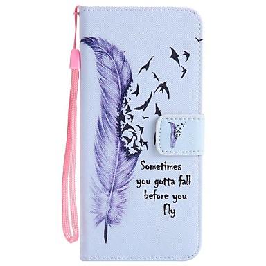 Capinha Para Samsung Galaxy S8 Plus S8 Porta-Cartão Carteira Com Suporte Flip Estampada Capa Proteção Completa Penas Rígida PU Leather