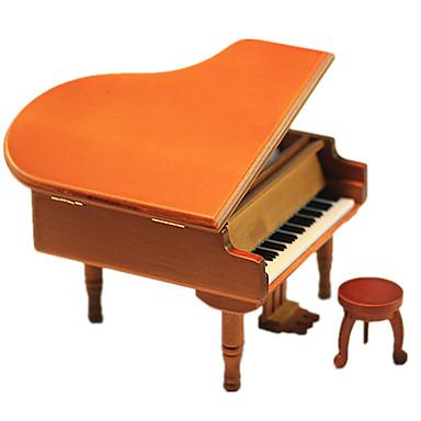 voordelige 3D-puzzels-Muziekdoos Houten modellen Modelbouwsets Hout Piano Vintage Retro Unisex Geschenk