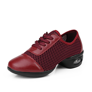baratos Shall We® Sapatos de Dança-Mulheres Sapatos de Dança Couro / Sintético Tênis de Dança Têni Salto Baixo Não Personalizável Preto / Branco / Vermelho Escuro / Espetáculo