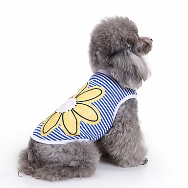 قط كلب T-skjorte سترة ملابس الكلاب زهور أزرق قطن كوستيوم للحيوانات الأليفة للرجال للمرأة جميل كاجوال/يومي موضة