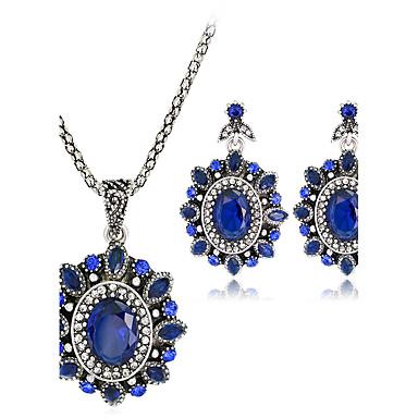 Mulheres Conjunto de jóias 1 Colar 1 Par de Brincos - Euramerican Fashion Oval Azul Escuro Conjunto de Jóias Colares com Pendentes Para