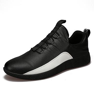 Homens sapatos Couro Ecológico Primavera Verão Conforto Tênis Caminhada Cadarço para Atlético Casual Ao ar livre Branco Preto