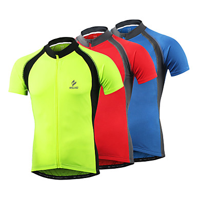 Arsuxeo Men's Short Sleeve Cycling Jersey - Light Yellow Red Blue Solid Color Bike Jersey Top Quick Dry Sports Polyester Spandex Mountain Bike MTB Road Bike Cycling Clothing Apparel / Stretchy