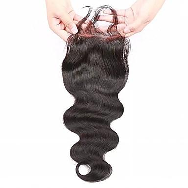 브라질 바디 웨이브 인간의 머리 130 % 밀도 4x4lace 클로저 표백 된 노트