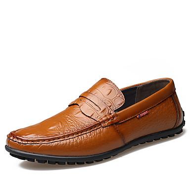 Homens Loafers de conforto Couro Primavera / Outono Conforto Mocassins e Slip-Ons Caminhada Preto / Amarelo