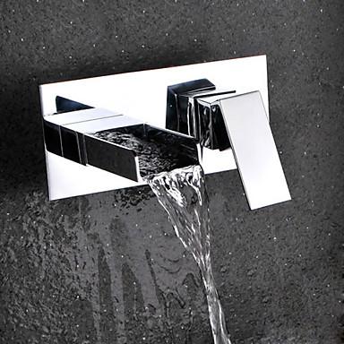 Moderna Modern Montagem de Parede Cascata Válvula Cerâmica Duas Aberturas Monocomando Dois Buracos Cromado, Torneira pia do banheiro