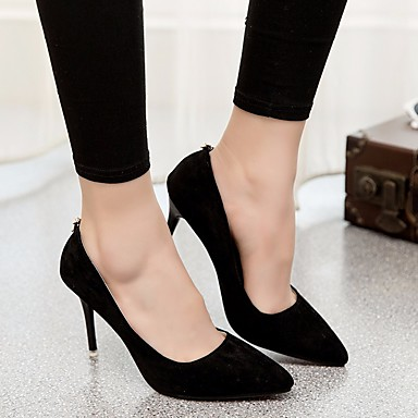 Damen Schuhe PU Frühling Komfort High Heels Stöckelabsatz Für Normal Schwarz Rot Blau