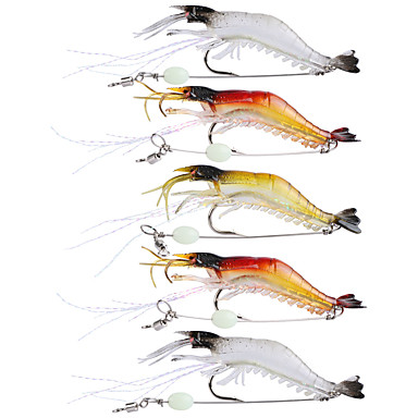 cheap Fishing Lures & Flies-5Pcs Lot 9Cm 6G Soft Fishing Lure Shrimp Luminous Artificial Bait With Swivel 3 Colors Fishing Lures Baits