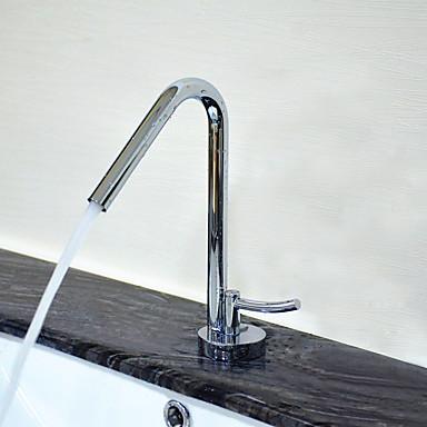 Moderna Conjunto Central Separada Válvula Cerâmica Monocomando e Uma Abertura Cromado, Torneira pia do banheiro