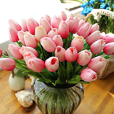 Artificial Flowers 10 Branch Modern Style Tulips Tabletop Flower