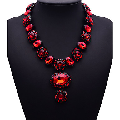 cheap Necklaces-Women's Sapphire Pendant Necklace Bib Ladies Fashion Euramerican fancy Synthetic Gemstones Alloy Dark Blue Red Dark Green Necklace Jewelry For Wedding Party Gift Masquerade Engagement Party Prom