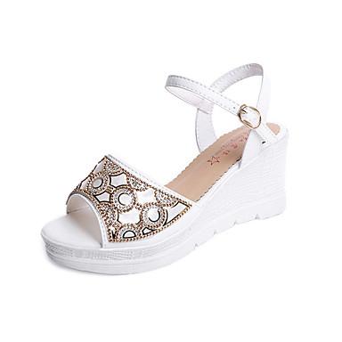 Damen Schuhe Kunstleder Frühling Sommer Komfort Club-Schuhe Sandalen Keilabsatz Spitze Zehe Offene Spitze Strass Schnalle für Normal Kleid