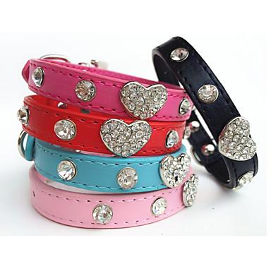 Kat Hond Kraag Strass PU-nahka Zwart Roos Rood Blauw Roze