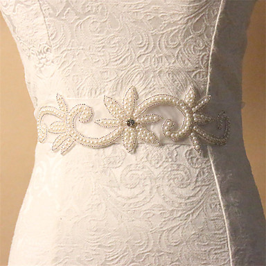 abordables Foulards de Soirée-Taffetas Satin Mariage Ceinture With Strass Appliques Femme Ceintures
