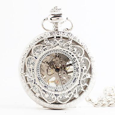 hesapli Erkek Saatleri-Kadın's Cep kol saati Japonca Quartz Beyaz Derin Oyma Analog Vintage Steampunk - Beyaz