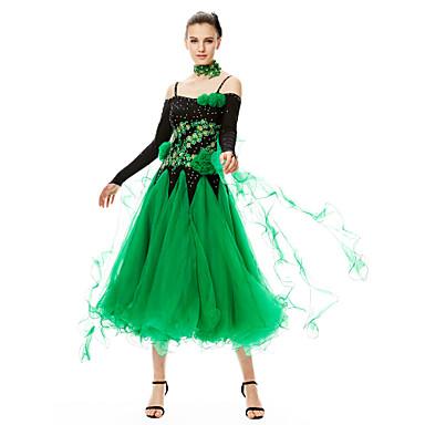 Dança de Salão Vestidos Mulheres Espetáculo Elastano Tule Lantejoulas Cristal / Strass Flor Manga Longa Alto Vestido Neckwear