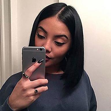 여성 인모 레이스 가발 전체 레이스 가발 130 % 밀도 스트레이트 가발 블랙 잛은 중 자연 헤어 라인 흑인여성 제품