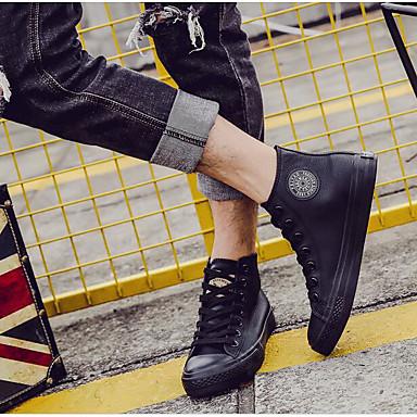 남성 운동화 조명 신발 PU 봄 화이트 블랙 레드 플랫