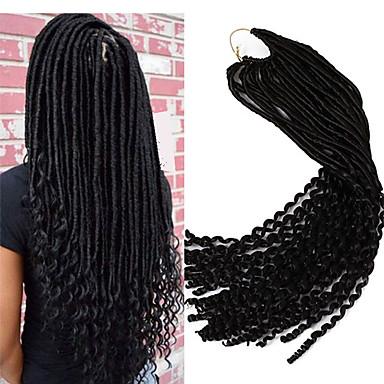 Cabelo para Trançar Encaracolado / Curva Bouncy / Crochê Dreadlocks / Extensões de Cabelo Natural / Dreadlocks / Faux Locs 100% cabelo kanekalon 24 raízes / pacote Tranças de cabelo Extensões