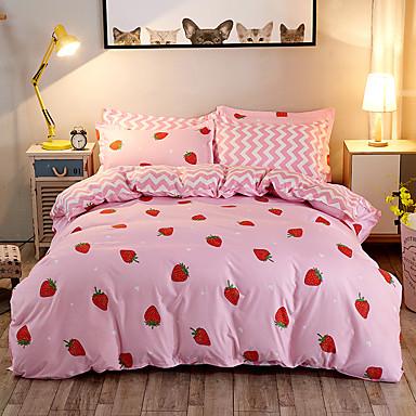 Blumen 4 Stück Polyester Reaktivdruck Polyester 4-teilig (1 Bettbezug, 1 Bettlaken, 2 Kissenbezüge)