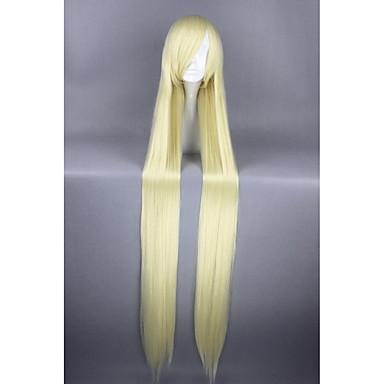 billige Kostymeparykk-Syntetiske parykker / Kostymeparykker Rett Stil Lokkløs Parykk Blond Gul Syntetisk hår Dame Blond Parykk Veldig lang Cosplay-parykk