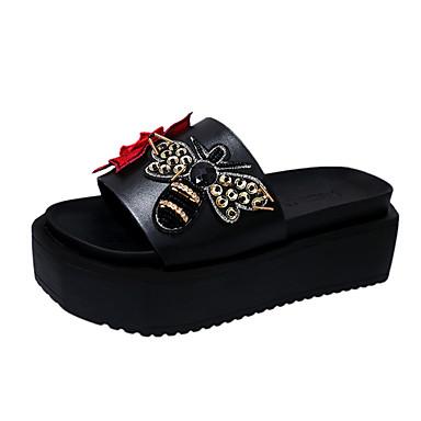 Dámské Sandály Pohodlné PU Léto Outdoor Chůze Plochá podrážka Bílá Černá 2.5 - 4.5 cm