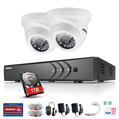 annke® 4ch 2pcs tvi 720p monitor de vídeo ip rede cctv ahd dvr p2p camera home surveillance security system