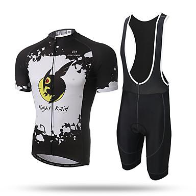 XINTOWN Homens Manga Curta Camisa com Bermuda Bretelle - Amarelo Animal Moto Tights Bib Camisa/Roupas Para Esporte, Secagem Rápida,
